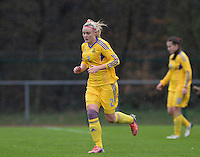 20150404 - FORST , GERMANY  : Ukrainian Tetiana Levytska pictured during the soccer match between Women Under 19 teams of Belgium and Ukraine , on the first matchday in group 5 of the UEFA Elite Round Women Under 19 at WaldseeStadion , Forst , Germany . Saturday 4th April 2015 . PHOTO DAVID CATRY