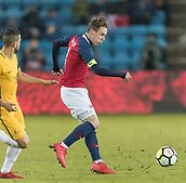 23rd March 2018, Ullevaal Stadion, Oslo, Norway; International Football Friendly, Norway versus Australia; Bailey Wright of Australia in action