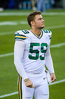 Green Bay Packers long snapper Taybor Pepper (59) during a National Football League game against the Chicago Bears on September 28, 2017 at Lambeau Field in Green Bay, Wisconsin. Green Bay defeated Chicago 35-14. (Brad Krause/Krause Sports Photography)