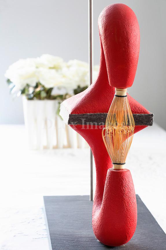 Modern red sculpture