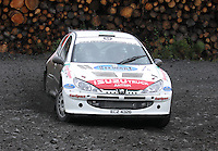 Liam Regan / Damien Duffin at Junction 9 on Craignell, Special Stage 1 of the Ian Broll Merrick Stages Rally 2012, Round 7 of the RAC MSA Scotish Rally Championship which was organised by Machars Car Club and Scottish Sporting Car Club and based in Wigtown on 1.9.12.