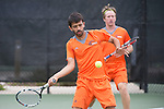 April 25, 2014; San Diego, CA, USA; Pepperdine Waves player Rakshay Thakkar (front) and Tom Hill (back) during the WCC Tennis Championships at Barnes Tennis Center.