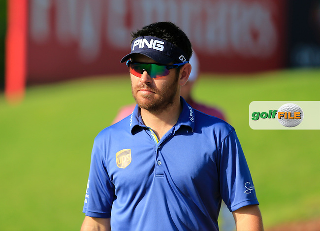 Louis Oosthuizen (RSA) on the 14th tee during Round 1 of the DP World Tour Championship at the Earth course,  Jumeirah Golf Estates in Dubai, UAE,  19/11/2015.<br /> Picture: Golffile | Thos Caffrey<br /> <br /> All photo usage must carry mandatory copyright credit (&copy; Golffile | Thos Caffrey)