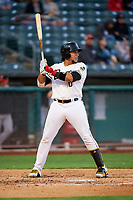 Jose Briceno (10) of the Salt Lake Bees bats against the Albuquerque Isotopes at Smith's Ballpark on April 24, 2019 in Salt Lake City, Utah. The Isotopes defeated the Bees 5-4. (Stephen Smith/Four Seam Images)
