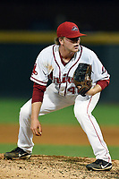 Pitcher Durbin Feltman (40) of the Greenville Drive looks for the sign in the ninth inning of a game against the Hickory Crawdads on Monday, July 23, 2018, at Fluor Field at the West End in Greenville, South Carolina. Feltman is a Third Round pick by the Boston Red Sox in the 2018 First-Year Player Draft. (Tom Priddy/Four Seam Images)