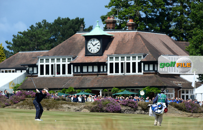 Bernhard Langer of Germany hits his 2nd shot on the 18th hole during the Second Round of The Senior Open at Sunningdale Golf Club, Sunningdale, England. Picture: Golffile | Richard Martin-Roberts<br /> All photo usage must carry mandatory copyright credit (&copy; Golffile | Richard Martin- Roberts)