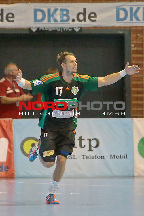 05.99.2015 , Sportarena, Hannover, GER,  DKB Handball-Bundesliga 15/16, TSV Hannover-Burgdorf vs Bergischer HC . <br /> <br /> Torjubel mit TSV Spieler Kai H&auml;fner #17<br /> <br /> <br /> <br />   Foto &copy; nph / Rust