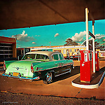 Vintage americana 50's car with fins in patrol station