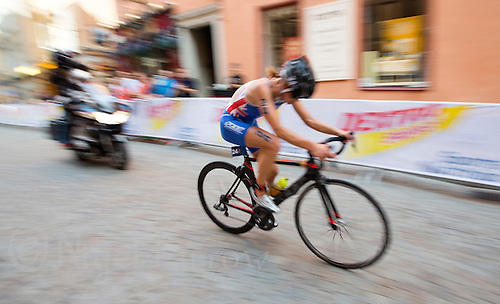 24 AUG 2013 - STOCKHOLM, SWE - Vanessa Raw (GBR) of Great Britain on the bike during the women's ITU 2013 World Triathlon Series round in Gamla Stan, Stockholm, Sweden (PHOTO COPYRIGHT © 2013 NIGEL FARROW, ALL RIGHTS RESERVED)