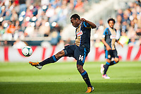 Amobi Okugo (14) of the Philadelphia Union. Toronto FC and the Philadelphia Union played to a 1-1 tie during a Major League Soccer (MLS) match at PPL Park in Chester, PA, on April13, 2013.