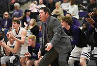Fayetteville head coach Brad Stamps reacts during a basketball game, Friday, January 10, 2020 at Fayetteville High School in Fayetteville. Check out nwaonline.com/200111Daily/ for today's photo gallery.<br /> (NWA Democrat-Gazette/Charlie Kaijo)