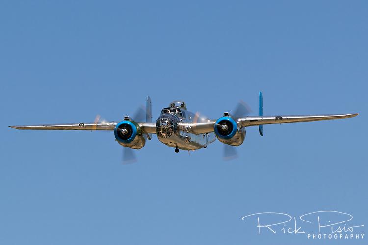 "North American B-25 Mitchell medium bomber ""Old Glory"" in flight."