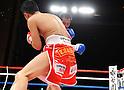(F-B) Takahiro Aou (JPN), Terdsak Kokietgym (THA),.APRIL 6, 2012 - Boxing :.Terdsak Kokietgym of Thailand in action against Takahiro Aou of Japan during the WBC super featherweight title bout at Tokyo International Forum in Tokyo, Japan. (Photo by Mikio Nakai/AFLO)