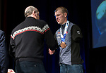 Prince George, B.-C., 16 February/2019 -  Mark Arendz receives his bronze medal for finishing third in the men's middle distance standing biathlon during the Medal ceremony  at the 2019 World Para Nordic skiing Championships in Prince George, B.C. Photo Bob Frid/Canadian Paralympic Committee.