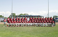 June 24, 2004:  Team Photo of the Batavia Muckdogs, Short-Season Single-A affiliate of the Philadelphia Phillies, during a game at Dwyer Stadium in Batavia, NY.  Andrew Baldwin, Joe Bisenius, Warren Brusstar, Zac Cline, Jason Crosland, Sean Gamble, J.A. Happ, Jason Jaramillo, Nathan Johnson, Kyle Kendrick, Luis Melendez, Jim Morrison.  Photo by:  Mike Janes/Four Seam Images