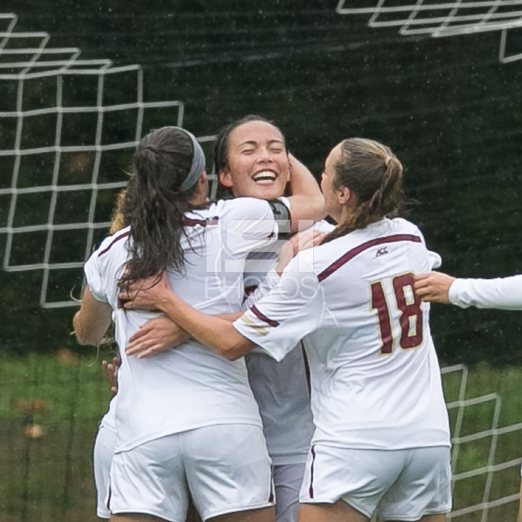 Newton, Massachusetts - October 9, 2016: NCAA Division I. In double overtime, Virginia Tech (black) defeated Boston College (white), 3-2, at Newton Campus Soccer Field.Goal celebration.
