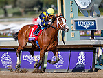 November 2, 2019: Covfefe, ridden by Joel Rosario, wins the Breeders' Cup Filly & Mare Sprint on Breeders' Cup World Championship Saturday at Santa Anita Park on November 2, 2019: in Arcadia, California. Kaz Ishida/Eclipse Sportswire/CSM