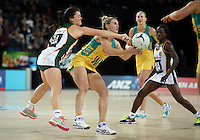27.08.2016 South Africa's Renske Stolz and Australia's Gabi Simpson in action during the Netball Quad Series match between South Africa and Australia at Vector Arena in Auckland. Mandatory Photo Credit ©Michael Bradley.