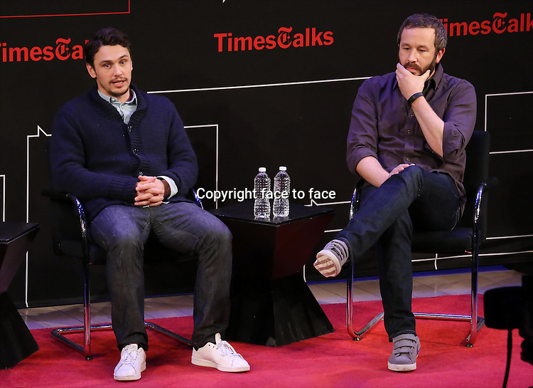 Chris O'Dowd and James Franco onstage at TimesTalks Presents 'An Evening With James Franco And Chris O'Dowd' at the Times Center on March 7, 2014 in New York City.<br /> Credit: McBride/face to face