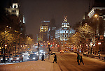 people walking down the street Alcala during the storm, the January 10, 2010<br />