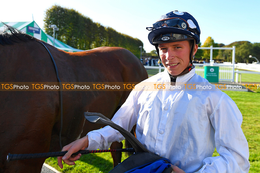 Jockey of Clara Peters Jason Watson in the Winners Enclosure after wining Winner of The Radcliffe & Co EBF Novice Stakes Div 2  during Afternoon Racing at Salisbury Racecourse on 3rd October 2018