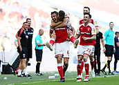 27th May 2018, Wembley Stadium, London, England;  EFL League 1 football, playoff final, Richard Wood of Rotherham United celebrates scoring his sides 2nd goal in the 103rd minute to make it 2-1 in the 1st half of Extra Time with Will Vaulks of Rotherham United