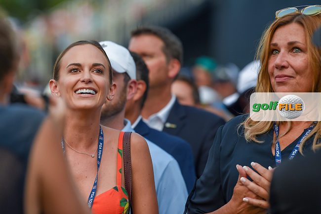 Jena Sims, Brooks Koepka's (USA) fiance, and his Mom anxiously await the final putt on 18 during 4th round of the 100th PGA Championship at Bellerive Country Club, St. Louis, Missouri. 8/12/2018.<br /> Picture: Golffile | Ken Murray<br /> <br /> All photo usage must carry mandatory copyright credit (© Golffile | Ken Murray)
