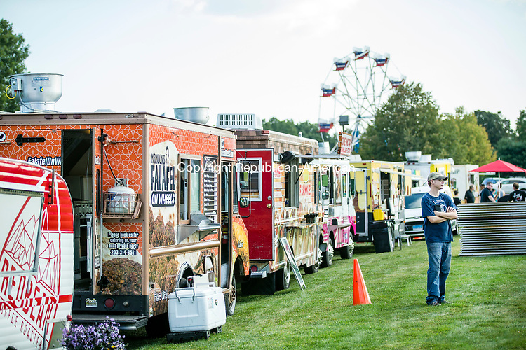 Cheshire, CT-15, September 20107-091517CM02. Food trucks line Bartlem Park in Cheshire on Friday. The trucks will be part of the Cheshire Fall Festival on Saturday.   Christopher Massa Republican-American