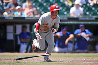 Memphis Redbirds Charlie Tilson (16) runs to first base during the Pacific Coast League game against the Iowa Cubs at Principal Park on June 7, 2016 in Des Moines, Iowa.  Iowa won 6-5.  (Dennis Hubbard/Four Seam Images)