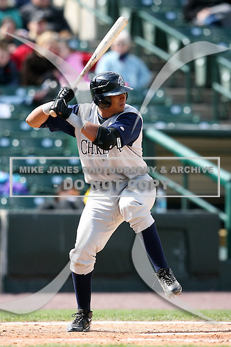 May 10, 2009:  Third Baseman Javier Castillo of the Charlotte Knights, Triple-A International League affiliate of the Chicago White Sox, at bat during a game at Frontier Field in Rochester, NY.  Photo by:  Mike Janes/Four Seam Images