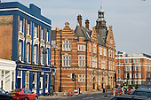 The Grafton Arms pub and the Public Baths in Kentish Town Road, London