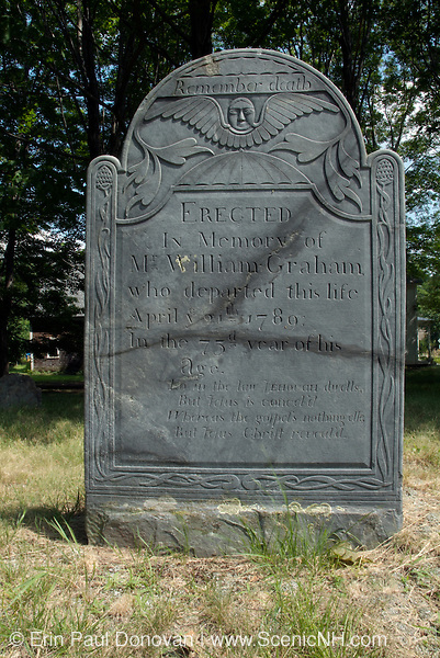 Headstone at Chester Village Cemetery in Chester, New Hampshire. William Graham headstone died 1789.