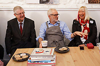 Pictured: Jeremy Corbyn (C) with First Minister for Wales Mark Drakeford (L), meet party suppirters at Awesome Wales, a zero waste shop in Barry. Saturday 07 December 2019<br /> Re: Labour Party leader Jeremy Corbyn pre-election campaign in Barry, south Wales, UK.