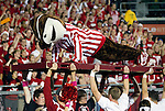 Wisconsin Badgers mascot Bucky Badger does pushups after the Badgers scored during an NCAA college football game against the Ohio State Buckeyes on October 16, 2010 at Camp Randall Stadium in Madison, Wisconsin. The Badgers beat the Buckeyes 31-18. (Photo by David Stluka)