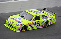 Feb 13, 2008; Daytona Beach, FL, USA; Nascar Sprint Cup Series driver Paul Menard (15) during practice for the Daytona 500 at Daytona International Speedway. Mandatory Credit: Mark J. Rebilas-US PRESSWIRE