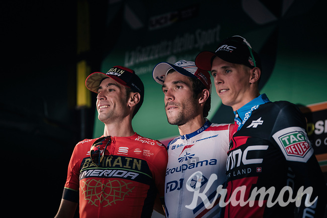 The 112th Il Lombardia 2018 finish podium:<br /> Thibaut Pinot (FRA/Groupama-FDJ) wins his first Monument Classic <br /> Vincenzo Nibali (ITA/Bahrain-Merida) is 2nd and Dylan Theuns (BEL/BMC) 3rd<br /> <br /> from Bergamo to Como: 241km