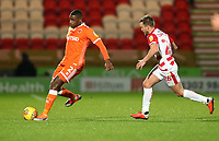 Blackpool's Donervon Daniels and Doncaster Rovers' James Coppinger<br /> <br /> Photographer Rachel Holborn/CameraSport<br /> <br /> The EFL Sky Bet League One - Doncaster Rovers v Blackpool - Tuesday 27th November 2018 - Keepmoat Stadium - Doncaster<br /> <br /> World Copyright &copy; 2018 CameraSport. All rights reserved. 43 Linden Ave. Countesthorpe. Leicester. England. LE8 5PG - Tel: +44 (0) 116 277 4147 - admin@camerasport.com - www.camerasport.com