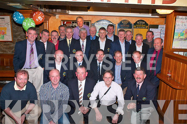 Past and present members of Murphy's Golf Society celebrate the society's 21st anniversary in Murphy's Bar Killarney on Friday night. Front row l-r: John Fitzgerald, Shane O'Callaghan, Frank Doran, Donal Hayes, Padraig Brosnan. Middle row: Paddy Kerrisk, John O'Shea, Joe Collins, Dan Joe Cahill (Captain), Sean Murphy (President), Gerry Adams. Back row: Con O'Mahony, Chris Collins, Tony Nolan, Michael Quirke, Martin Hayes, John Hartigan, Pat Carroll, Pat Cussen, John Cahill, Paudie O'Donoghue, Mike Casey, Daithi McGillicuddy and Billy O'Callaghan      Copyright Kerry's Eye 2008