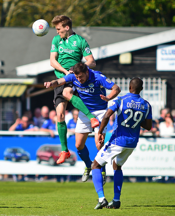Lincoln City's Sean Raggett gets above Eastleigh's Craig McAllister<br /> <br /> Photographer Andrew Vaughan/CameraSport<br /> <br /> Vanarama National League - Eastleigh v Lincoln City - Saturday 8th April 2017 - Silverlake Stadium - Eastleigh<br /> <br /> World Copyright &copy; 2017 CameraSport. All rights reserved. 43 Linden Ave. Countesthorpe. Leicester. England. LE8 5PG - Tel: +44 (0) 116 277 4147 - admin@camerasport.com - www.camerasport.com