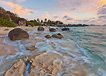 Virgin Gorda, British Virgin Islands, Caribbean<br /> Evening light on the surf and rock patterns on the beach of Little Trunk Bay near the Baths