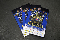 A general view of matchday programmes. The Clash, Aviva Premiership match, between Bath Rugby and Leicester Tigers on April 7, 2018 at Twickenham Stadium in London, England. Photo by: Patrick Khachfe / Onside Images