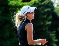 Edgewood's Lexi Greytak smiles before teeing off on the 10th hole during the Division 2 regional girls golf tournament at Yahara Hills Golf Course on Tuesday, 9/25/12, in Madison, Wisconsin