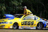 Aug. 18, 2013; Brainerd, MN, USA: NHRA pro stock driver Jeg Coughlin Jr during the Lucas Oil Nationals at Brainerd International Raceway. Mandatory Credit: Mark J. Rebilas-