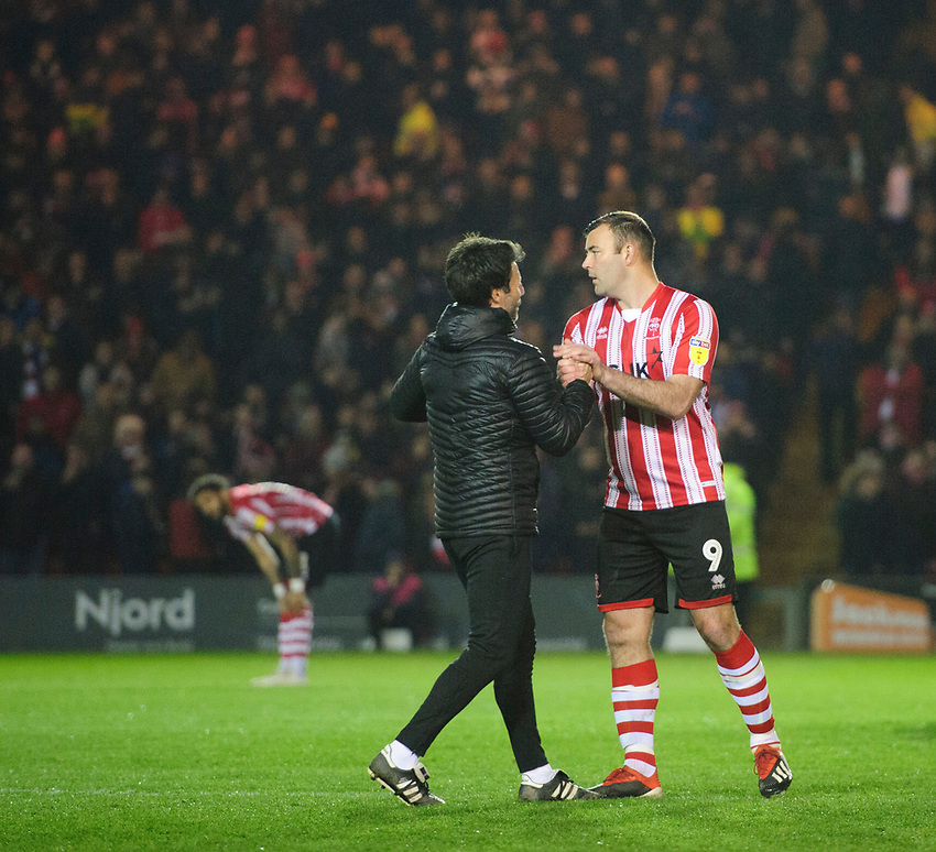 Lincoln City manager Danny Cowley, left, with Lincoln City's Matt Rhead prior to the game<br /> <br /> Photographer Chris Vaughan/CameraSport<br /> <br /> The EFL Sky Bet League Two - Lincoln City v Yeovil Town - Friday 8th March 2019 - Sincil Bank - Lincoln<br /> <br /> World Copyright © 2019 CameraSport. All rights reserved. 43 Linden Ave. Countesthorpe. Leicester. England. LE8 5PG - Tel: +44 (0) 116 277 4147 - admin@camerasport.com - www.camerasport.com