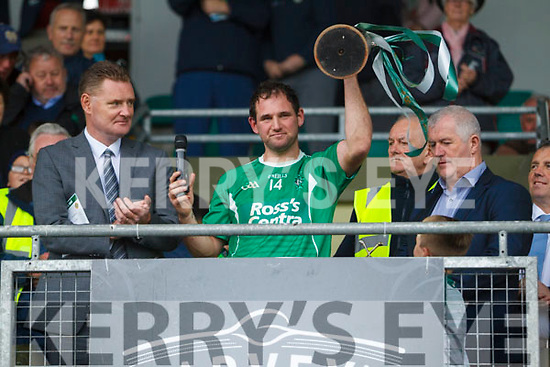 Mikey Boyle Ballyduff captain celebrating with the cup after the Senior County Hurling Final in Austin Stack Park on Sunday