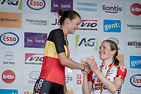Jesse Vandenbulcke (BEL/Doltcini - Van Eyck Sport) is the 2019 Belgian National Champion WE - Road Race (NC)<br /> 1 day race from Gent to Gent (120km) & is congratulated by 3rd finisher Julie Van de Velde (BEL/Lotto-Soudal)<br /> <br /> ©kramon