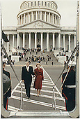 Former United States President Ronald Reagan and former first lady Nancy Reagan board the Helicopter to leave the U.S. Capitol following the swearing-in of George H.W. Bush as President on January 20, 1989.<br /> Credit: White House via CNP