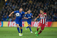 Daniel Drinkwater of Leicester City & Koke of Club Atletico de Madrid during the UEFA Champions League QF 2nd Leg match between Leicester City and Atletico Madrid at the King Power Stadium, Leicester, England on 18 April 2017. Photo by Andy Rowland.