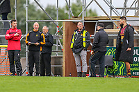 Ampthill Rugby staff look on during the Greene King IPA Championship match between Ampthill RUFC and Nottingham Rugby on Ampthill Rugby's Championship Debut at Dillingham Park, Woburn St, Ampthill, Bedford MK45 2HX, United Kingdom on 12 October 2019. Photo by David Horn.