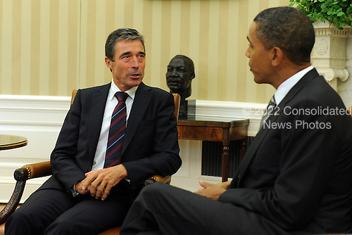 United States President Barack Obama meets with North Atlantic Treaty Organization (NATO) Secretary General Anders Fogh Rasmussen in the Oval Office of the White House in Washington, D.C. on Tuesday, September 7, 2010.   .Credit: Roger L. Wollenberg - Pool via CNP